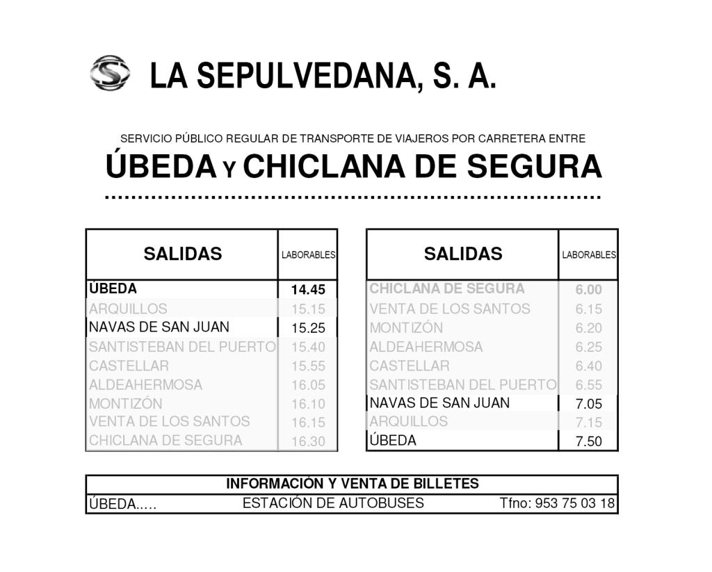 itinerario de la linea Ubeda-Navas